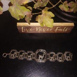 Antique * Marked * Silver Camel Llama Bracelet